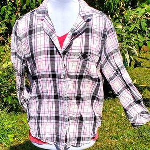 Victoria Pink button up Night Shirt sz M